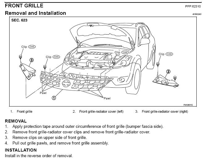 service manual  diagram of removing a grill from a 2003 gmc sierra 2500  how to remove front 2004 nissan armada service manual pdf Armada 2003