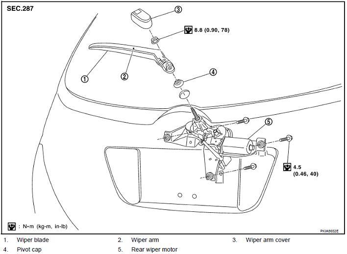 nissan murano rear wiper diagram